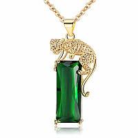 Подвеска з зеленым камнем, медлсплав, кулон тигр в золотом цвете СС1750-65