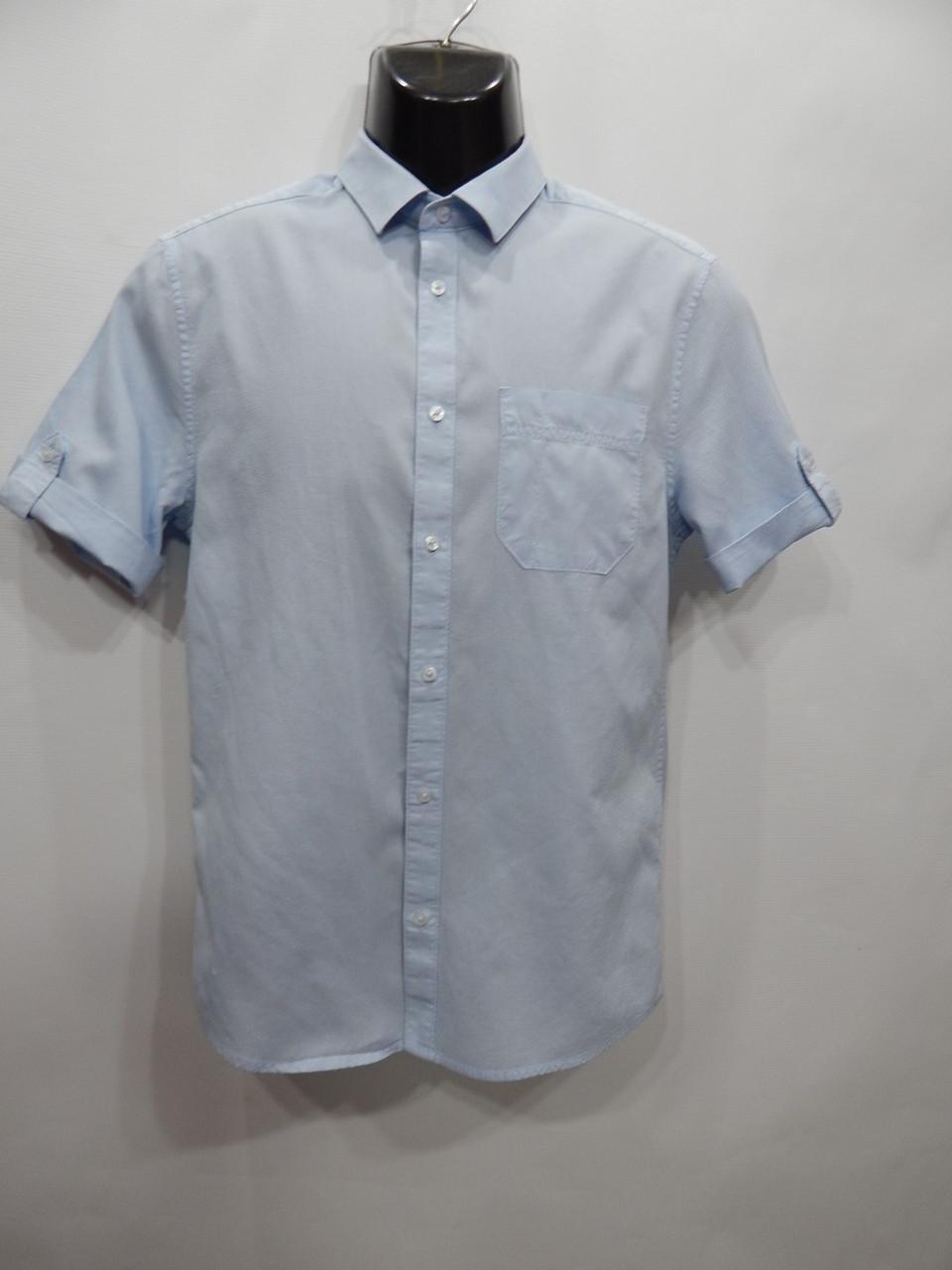 Мужская рубашка с коротким рукавом H&M р.46 057ДРБУ