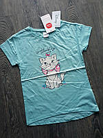 Нежная футболка COOL CLUB хлопковая рост 122 бирюзовая с кошкой