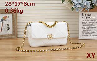Сумка в стиле Шанель , ромбик , плетенная цепочка / эко-кожа (0318) Белый