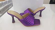 Шлёпанцы женские на каблуке яркие 2021 Фиолетовый, 40