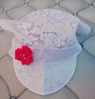 Косынка для девочки с козырьком Белые цветы, р. 48- 50, хлопок
