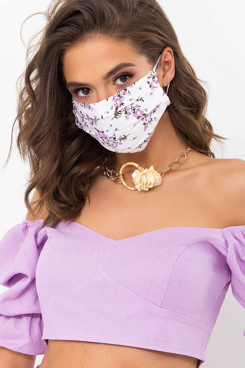 Багаторазова світла захисна маска натуральна тканина штапель батист для особи на гумці