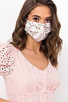 Багаторазова світла захисна маска натуральна тканина штапель батист для особи на гумці, фото 2