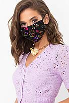 Багаторазова світла захисна маска натуральна тканина штапель батист для особи на гумці, фото 3