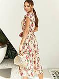 Бежевое платье-миди в цветочном принте ЛЕТО, фото 4