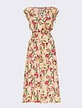 Бежевое платье-миди в цветочном принте ЛЕТО, фото 5