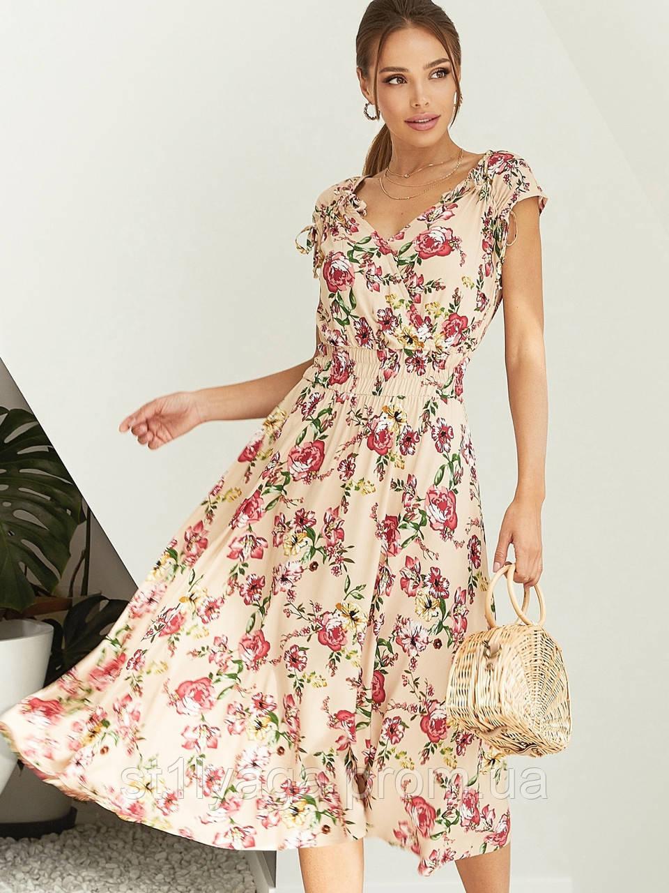 Бежевое платье-миди в цветочном принте ЛЕТО