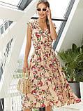 Бежевое платье-миди в цветочном принте ЛЕТО, фото 2