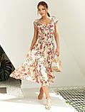 Бежевое платье-миди в цветочном принте ЛЕТО, фото 3