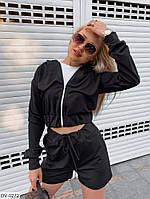 Костюм женский стильный прогулочный кофта на молнии с шортами из двунитки арт 10119