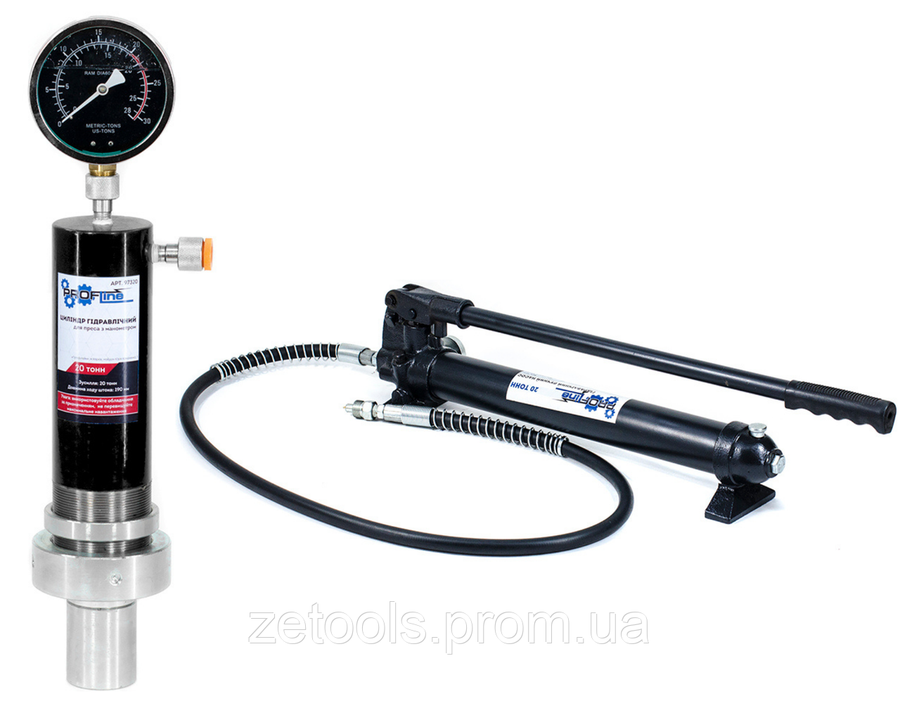 Цилиндр гидравлический для пресса с манометром 20 тонн Profline 97320 + насос на 20 тонн 97320+97106