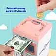 Детская копилка-сейф для бумажных денег MK 4626 с кодовым замком и отпечатком пальца, (цвет розовый), фото 6