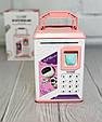 Детская копилка-сейф для бумажных денег MK 4626 с кодовым замком и отпечатком пальца, (цвет розовый), фото 7