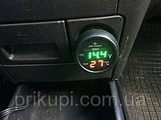 Термометр + вольтметр + USB зарядка VST 706-4, красный/зеленый в прикуриватель 12-24В, фото 2