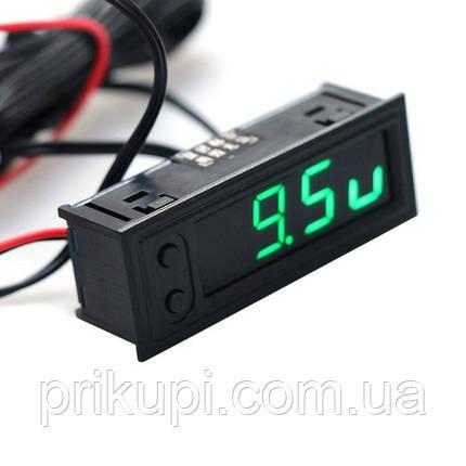 Автомобільні годинник - термометр (2 датчика -35 ~ 120 ° с) - вольтметр 12В-24В врізні в панель, фото 2