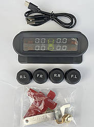 Система контроля давления и температуры в шинах TPMS с 4 внешними датчиками, солнечная панель
