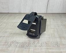 Автомобильное зарядное устройство 2 х 2.1А USB врезное + вольтметр 12-24V Зеленый, фото 2