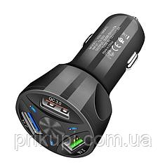 Зарядное устройство в прикуриаатель на 3 USB 12-24 вольта QC 3.0 Quick Charge быстрая зарядка