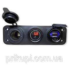 Врезные в панель прикуриватель + вольтметр + 2 USB по 2.1А автопанель 12В-24В