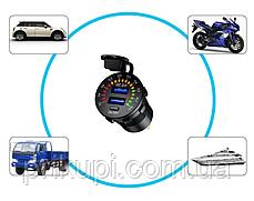 Інтелектуальний зарядний пристрій врізне 12-24 вольт на 2 USB 3А QC 3.0 Quick Charge, фото 3