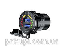 Інтелектуальний зарядний пристрій врізне 12-24 вольт на 2 USB 3А QC 3.0 Quick Charge, фото 2