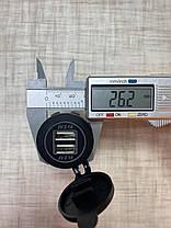 Встраиваемый USB разъем 2 по 2.1А 12 Вольт - 24 Вольта в панель приборов автомобиля Белая, фото 2