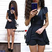 Нарядный женский комбинезон с короткими шортами на лето красивого кроя арт 0392