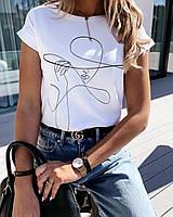 Футболка женская модная размер 42-46. Стильная футболка женщина в шляпе