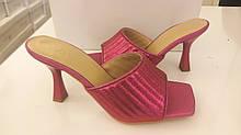 Шлёпанцы женские на каблуке яркие 2021 Розовый, 40