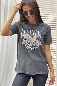 Женская серая футболка с принтом в стиле рок