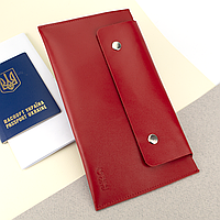 Тревел-конверт для путешествий  кожаный на кнопках HC красный, фото 1