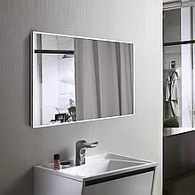 Біле дзеркало в рамі для ванної, алюміній