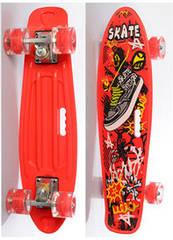 Скейт (пенні борд) Penny board зі світними колесами ЧЕРВОНИЙ арт. 0749-6