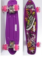 Скейт (пенні борд) Penny board зі світними колесами ФІОЛЕТОВИЙ арт. 0749-6