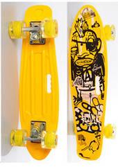 Скейт (пенні борд) Penny board зі світними колесами ЖОВТИЙ арт. 0749-6