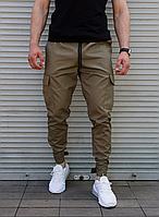 Мужские брюки джоггеры хаки зауженные на липучке