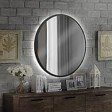Кругле дзеркало в чорному кольорі з підсвічуванням 800 мм