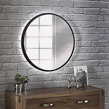 Кругле дзеркало з підсвічуванням 800 мм венге магія