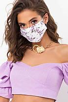 Красивая тканевая маска из натуральной ткани штапель батист для лица на резинке, фото 2
