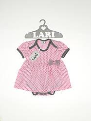 """Боді плаття """"Горошинка"""" (рожевий, інтерлок, (68))"""
