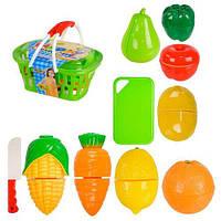 Продукты на липучке в корзинке 666-23 с досточкой и ножиком - игрушка для малышей