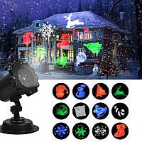 Уличный лазерный проектор для украшения домов новогодний NBZ Festival Projection Lamp | 4 цвета 8 рисунков