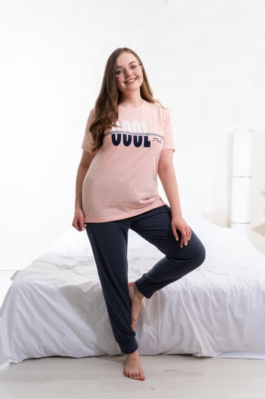 Костюм домашній футболка і штани великих розмірів Nikoletta віскоза