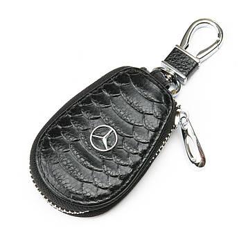 Кожаная ключница с лого Авто автоключница кожа F625 Mersedes black черный