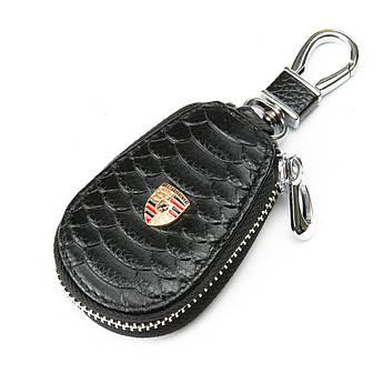 Кожаная ключница с лого Авто автоключница кожа F625 Porsche black черный