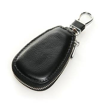 Кожаная ключница с лого Авто автоключница кожа F633 black черный
