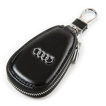 Кожаная ключница с лого Авто автоключница кожа F633 Audi black черный