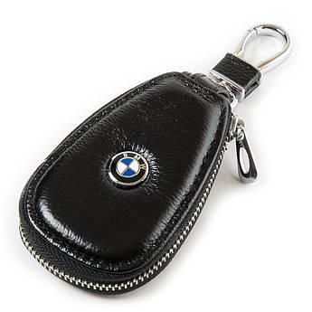 Кожаная ключница с лого Авто автоключница кожа F633 BMW black черный