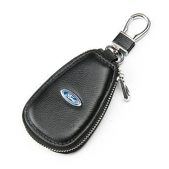 Кожаная ключница с лого Авто автоключница кожа F633 Ford black черный